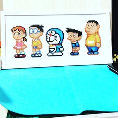 Doraemon hama beads by 8bits_keychain