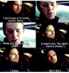Steve and Bucky. I'm glad that though Bucky doesn't blame himself, he takes the responsibility. I think that shows great maturity, and who Bucky, not the Winter Soldier, really is. Marvel Memes, Marvel Dc Comics, Marvel Avengers, Steve Rogers Bucky Barnes, Bucky And Steve, Sebastian Stan, Captain America Civil War, Stucky, Winter Soldier