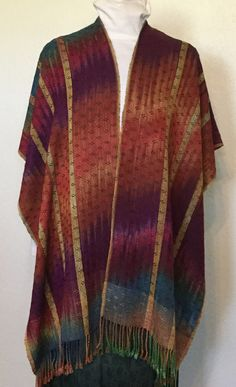 Shawl,Handwoven Shawl Wrap - Hand Woven V-Shawl hand dyed Rayon Bamboo - Hand…