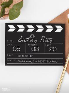 """Lade mit einer Regieklappe zum nächsten Kapitel deines Lebens ein! 30. Geburtstag - Zeit zu feiern! Lade mit hochwertigen und modernen Einladungskarten deine Gäste zu deiner Geburtstagsfeier ein. Lass dich von kreativen Designs und witzigen Ideen für deine Einladung inspirieren. Gestalte deine Einladungskarte zum 30. Geburtstag jetzt ganz einfach online und überrasche deine Liebsten. Design: """"Regieklappe"""" #kartenmacherei #geburtstag Designs, Abs, Birthday Celebrations, Invitation Cards, Creative Ideas, Crunches, Abdominal Muscles, Killer Abs, Six Pack Abs"""