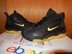 OG 1997 Nike Air Total Max Uptempo 830015 031 Black/Neon Yellow Sz 8 VTG Damaged #Nike #AthleticSneakers