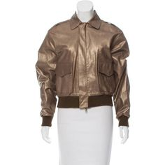 Pre-owned Ralph Lauren Purple Label Metallic Leather Jacket ($325) ❤ liked on Polyvore featuring outerwear, jackets, gold, blouson jacket, genuine leather bomber jacket, bomber jackets, leather jackets and metallic jacket