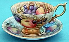 Vintage Aynsley Hand Painted Signed Fruit Cup & Saucer. Please click on the image for more information.