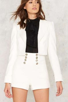 Nasty Gal Collection Powers That Be Cropped Blazer - Two Piece  Cotton/Polyester  *Runs true to size  *Machine wash cold  *Imported
