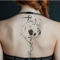 Back tattoos of a woman; Little prince tattoos; Back tattoos tattoo pattern BACK TATTOOS FOR WOMEN - Page 40 of 51 Back Tattoo Women, Back Tattoos, Body Art Tattoos, Tattoos For Guys, Tattoos For Women, Thigh Tattoos, Ribbon Tattoos, Flower Tattoos, Tattoo Chart