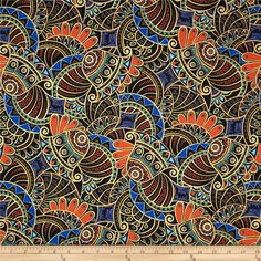 Egypt Metallic Amulet Black from @fabricdotcom  Designed for Andover Fabrics, this cotton print fabric with metallic gold elements is perfect for quilting, apparel and home decor accents. Colors include black, gold, royal blue, green, orange, brown and aqua blue.