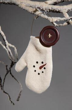 "Christmas Ornaments - ""Snowman Mitten Ornament"""