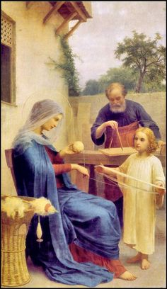 The Holy Family. Young Jesus helps His Mother, Mary, while Joseph, His adoptive father, works on a carpentry project. Jesus And Mary Pictures, Pictures Of Christ, Mary And Jesus, Christian Artwork, Christian Images, Religious Photos, Religious Art, Catholic Prayers, Catholic Art