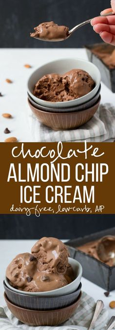 This Chocolate Almond Chip Coconut Milk Ice Cream tastes great and is so much cheaper than store bought dairy free ice cream. Vegan and paleo ice cream at its best with low carb and autoimmune protocol/AIP options!