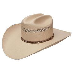 New Stetson 10X Hudson Straw Western Cowboy Hat From the Stetson 10X Collection! - Genuine 10X Natural Shantung Panama Silverbelly Straw - Concho leather hatband - Self-conforming leather sweatband -