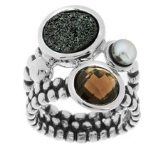 Michael Dawkins Black Drusy Smokey Quartz & Cultured Pearl Ring