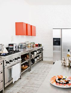 open industrial shelves next to oven,something to think about.....