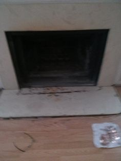 "This project is brought to you by the word ""glue"" and by the letter ""F"" (for fireplace, although the other word was utilized a lot.  Before:  Fake marble hearth.  Poorly installed, broken and burned."