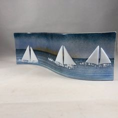 Nautical Glass S Curved PlaqueCandle Display Racing Sailing Glass Boat, Glass Plaques, Memento, Glass Fusing Projects, Glass Christmas Decorations, Glass Tea Light Holders, Ocean Scenes, Mother Birthday Gifts, Fused Glass Art