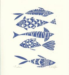 Fishes Linocut - Original Print - Blue Art, Hand Pulled Print