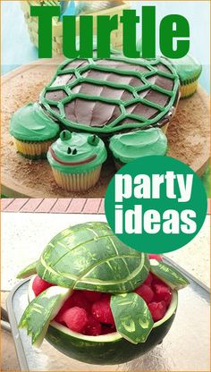Turtle Party.  What a great theme for a toddler's birthday party!  Have fun creating cute turtle food for the little ones.  Great idea for a boy baby shower or kids reptile party.