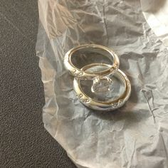 Ring and band set Avon Paradise Bliss 2 Piece CZ Engagement Ring and Band Set Size 8.     new in box never worn Avon Jewelry Rings