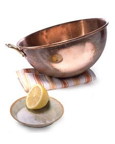"""""""This treatment for cleaning copper amazes everyone who tries it. A pleasing bonus: It's chemical-free. All you need are a lemon and coarse salt. Sprinkle the cut side of a lemon half with the salt, then rub it over the copper, which will soon gleam."""" -Martha Stewart... Not sure I believe you, Martha, but I will try it."""