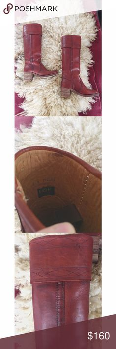 """Vintage 1970s tall Frye campus boot These vintage Frye's are in great shape despite their age. They have unique leather detailing and stitching on the shaft. The style of the tag and fact that they were made in the USA, makes me think these date back to the 70s. They're labeled as an 8, but would fit a modern day 6.5 best. Heel measures just under 2.25"""". The shaft measures 17"""" from the bottom of the heel to the top. The shaft measures about 5.5"""" across the top. Frye Shoes Heeled Boots"""