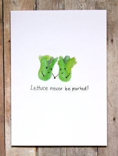 Punny Vegetable Greeting Card- Lettuce Never Be Parted!- Card with Envelope- Food Themed Card