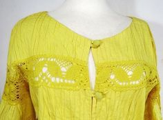 Vtg Medium Rosa Mexicano Yellow Lace Dress Cover Up Robe Pintuck Crocheted Lace
