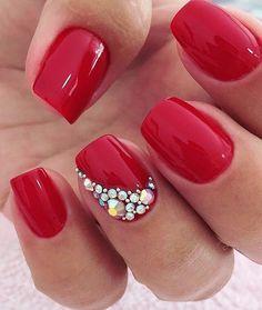 WEBSTA @ viciadasemunhass - By  @esmalteria_nail_designer .....#unhasdasemana #unhasdecoradas #pedrariasdeunhas #joiasdeunhas #vermelho #esmaltevermelho