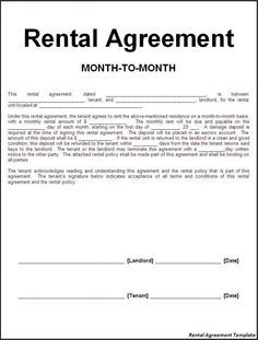 Efficient Sample Of Month To Month Rental Agreement Template With