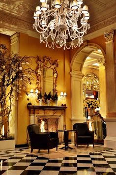 """Claridge's is a 5-star hotel located at the corner of Brook Street and Davies Street in London. It has long-standing connections with royalty that have led to it sometimes being referred to as an """"annexe to Buckingham Palace""""."""