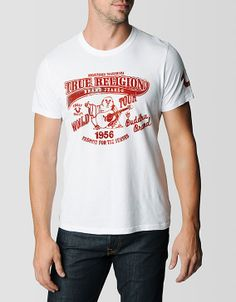 True Religions updated World Tour tee. A classic crew neck in white fits slim because all garments should be tailored to your frame.... #TRHoliday13