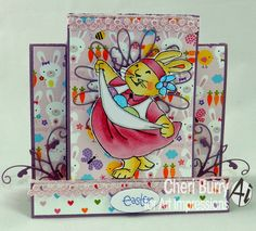 Art Impressions Rubber Stamps: Joyful Kate (sku#4112) Ai Easter ... handmade step card.