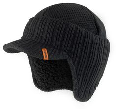 Scruffs Peaked Knitted Hat Black One Size Scruffs Workwear, Ski, Mens Beanie Hats, Peaked Cap, Safety Helmet, Winter Hats For Men, Ear Warmers, Latex Free, Color Negra