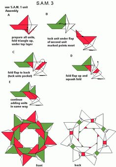 S.A.M. 3 diagrams Origami Wreath, Origami And Kirigami, Fabric Origami, Paper Crafts Origami, Diy Origami, Origami Flowers, Origami Modular, Origami Folding, Paper Folding