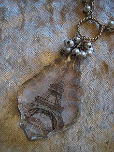March 09 - Paris crystal/image transfer created by Gretchen Resin Jewelry, Crystal Jewelry, Boho Jewelry, Pendant Jewelry, Jewelry Crafts, Jewelry Art, Beaded Jewelry, Jewelery, Vintage Jewelry