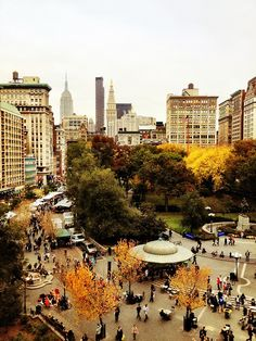 NYC. Above Union Square in autumn.  Vivienne Gucwa, the photographer  says: The view is gorgeous in the autumn when the trees change color before descending gracefully to the ground.
