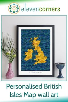Custom map art of the British Isles - you can personalise it with a location marker and a special message below the map. Unique personalised map gift idea for her. #elevencorners #mapart #personalisedprint #giftideas #giftsforher Personalized Anniversary Gifts, Personalised Gifts For Him, Personalised Prints, Personalized Wall Art, Personalized Wedding, New Home Presents, New Home Gifts, Map Wall Art, Map Art