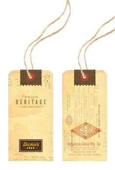 Creative Dickies, Large, and Tag image ideas & inspiration on Designspiration Ticket Design, Tag Design, Label Design, Graphic Design, Brand Packaging, Packaging Design, Old Paper, Hang Tags, Fashion Prints