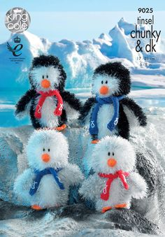 Knit these penguins using King Cole Tinsel Chunky and Dollymix DK yarn. Pattern includes instructions to make mom, dad, girl and boy penguin family. Chunky Knitting Patterns, Free Knitting, Crochet Patterns, Knitting Ideas, Knitting Stitches, Minerva Crafts, King Cole, Christmas Knitting, Crochet Christmas