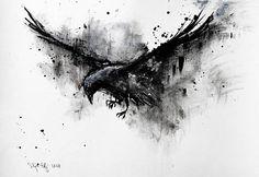 Wolf Tattoos, Body Art Tattoos, Sleeve Tattoos, Black Crow Tattoos, Tattoo Ink, Fish Tattoos, Crow Art, Raven Art, Rabe Tattoo