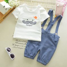 d768e176956cd 2017 Summer Baby Girls Boys Clothes Suits Infant Cotton Suits Casual Cute  Beard T Shirt+Stripe Straps Shorts Children Kids Suits - Kid Shop Global -  Kids ...