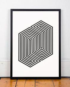 Geometric Poster, Retro poster, Mid century modern, abstract art, Geometric, A3, Modern art print, Home decor, Minimalist art, Wall prints