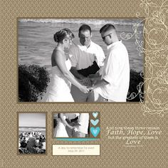Wedding Scrapbook page - clay color with cream and touch of turquoise - elegant