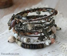 Bangle Stack 246 - love the beads and the wire.