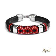 Leather Bracelets, Leather Jewelry, Bracelets For Men, Jewelry Bracelets, Seed Bead Jewelry, Seed Beads, Beaded Jewelry, Peyote Stitch, Loom Patterns
