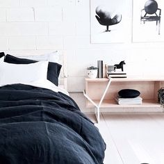 inky blue linen on white! Wonderful Scandi inspired styling by Bed, Instagram Posts, Chairs, Inspiration, Furniture, Inspired, Artwork, Home Decor, Style