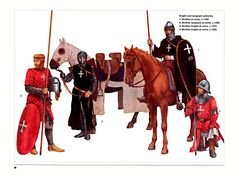 Mounted Knights with horse saddle designs