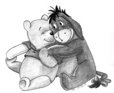 black and white. Pooh and Eeyore