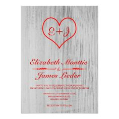 red white country wedding invitations