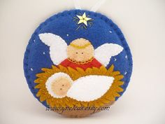Felt  Christmas Ornament Nativity Scene with baby and by ynelcas