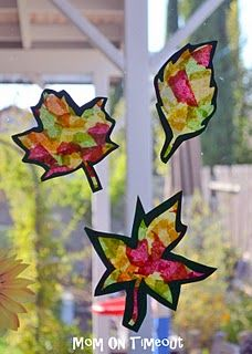 Fall leaf suncatchers - these made with tissue paper glued between pieces of waxed paper, instead of the typical contact paper.
