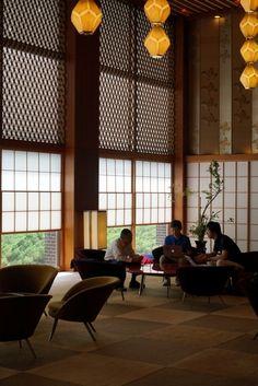 japanese modern|lobby, hotel okura tokyo (alas no more)